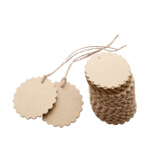 Seekingtag 50pcs Scalloped Wedding Kraft Paper Tag Lolly Bag Bonbonniere Favour Gift Tag with Jute Twines