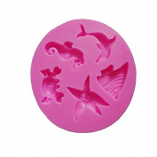 Mini Sea Lifes Dolphin Sea Fish Crab Starfish Hippocampus Shape 3d DIY Silicone Mould Tray Cake Decorating Mould Chocolate Candy Making Mould Tools Clay Sculpture Shaping Mould Tools
