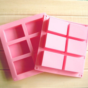 Ozera 6 Cavities Soap Silicone Mould, Cake Baking Pan, Biscuit Chocolate Ice Cube Tray, 2 Pack