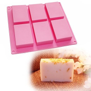 X-Haibei 6-cavity Plain Basic Rectangle Soap Mould Silicone Mould for Homemade Craft