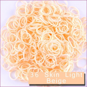 6000 PCS 240 Clips Bands Refills for Loom Rainbow Bracelet Dress Making Skin Tone - Skin Light Beige