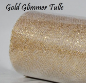Wedding GLITTER Tulle Roll 15cm x 9.1m GOLD Sparkling Tulle
