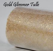 Wedding GLITTER Tulle Roll 15cm x 9.1m GOLD Sparkling Tulle