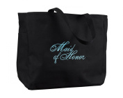 Hortense B. Hewitt Wedding Accessories Black with Aqua Bridal Party Tote Bag, Maid of Honour, 30cm by 36cm