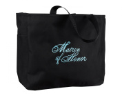 Hortense B. Hewitt Wedding Accessories Black with Aqua Bridal Party Tote Bag, Matron of Honour, 30cm by 36cm