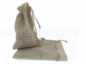 CleverDelights 10cm x 15cm Burlap Bags with Natural Jute Drawstring - 25 Pack - Small Burlap Pouch Sack Favour Bag for Showers Weddings Parties and Receptions - 10cm x 15cm