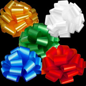 Gold, White, Green, Blue, Red Pull Bows for Large Christmas Gifts - 23cm Wide, Set of 5