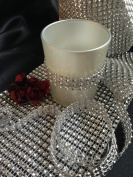 Spring Rose(TM) 9.1m x 12cm Roll Silver Diamond Rhinestone Ribbon Wrap. Huge 24 Rows Wide. Easy to Cut to Size. Great For Use As Bridal or Wedding Decorations. A Must For Your Party Supplies. Meant to Impress.