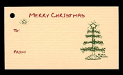 (15 Tags) Tan TABLE TOP CHRISTMAS TREE GIFT TAGS & STRINGS. MERRY CHRISTMAS. TO