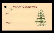 (15 Tags) Tan TABLE TOP CHRISTMAS TREE GIFT TAGS & STRINGS. MERRY CHRISTMAS. TO