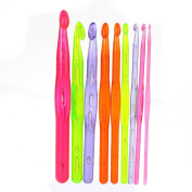 Docooler 9pcs Multicolor Plastic Crochet Hooks Knitting Needles Set 3.0-12.0mm