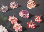 Vintage Crochet PATTERN to make - Pansy Flower Jewellery Earrings. NOT a finished item. This is a pattern and/or instructions to make the item only.