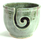 Midnight Sun Pottery Yarn Bowl - Green with Raspberry