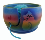 Kitty Cat Yarn Bowl by Award-Winning Artist Judith Stiles. Handcrafted Pottery Knitting Bowl, Handmade From Durable Pottery. Gift for Knitters, Cat Lovers and Animal Lovers. Made in the USA.