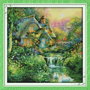 Happy Forever Cross Stitch Scenery, country cabin 2
