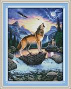 Benway Counted Cross Stitch Howling Wolves 14CT 56x71cm