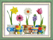Benway Counted Cross Stitch Five Kinds Of Flowers 14 Count 65x47 CM