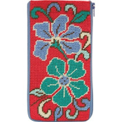 Stitch & Zip Needlepoint Eyeglass Case-SZ477 Red Asian Floral