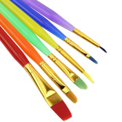 HeroNeo® New 6 Colourful Tip Nylon Child Paint Brushes Nail Brush For Art Artist Supplies