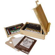 US Art Supply® 62-Piece Wood Box Easel Painting Set- Including Box Easel, 12-tubes of Acrylic Paint Colours, 12-Artist Pastels, 3 Assorted Acrylic Painting Brushes, Wood Palette, Plastic Palette Knife & Hb Pencil, 12-tubes of Oil Paint Colours, 12-Oil ..