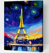 DIY PBN-paint by number Colourful Eiffel Tower 41cm X 50cm Frameless.
