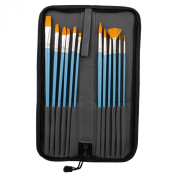 US Art Supply 12-Piece Long Handle Nylon Hair Artist Oil Paint Brush Set Blue Handle with Carry Case