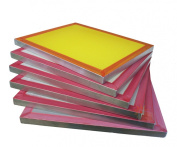 6-pack 46cm x 50cm Aluminium Screen Printing Frames w/ 200 tpi Yellow Mesh Pre-stretched