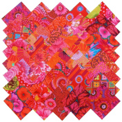 Kaffe Fassett RICH REDS MAGENTA PINK Precut 13cm Cotton Fabric Quilting Squares Charm Pack Assortment Westminster Fibres