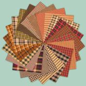 40 Primitive Charm Pack, 15cm Precut Cotton Homespun Fabric Squares by Jubilee Creative Studio
