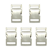 Blue Elf® 5 PCS 3/4 inch (20mm) Flat Silver Colour Metal Side Release Buckles with free Cable Organiser