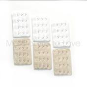 6-pack of Four-hook Bra Extenders - 3 beige + 3 white
