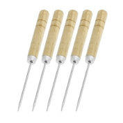 Water & Wood 12cm Long Wooden Handle Metal Tapered Needle Sewing Stitching Awl 5 Pcs