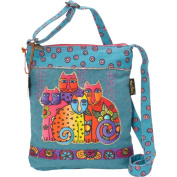 Laurel Burch Long Satchel Bag, 27cm by 32cm , Feline Clan
