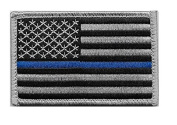 US Flag Thin Blue Line hook and loop Patch for Police and Law Enforcement