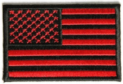 US American Flag Patch Bloodred & Black tactical hook and loop 7.6cm x 5.1cm Inch