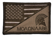 USA Flag / Spartan Head Molon Labe 2.25x3.5 Military Patch / Morale Patch - Coyote Brown