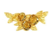 Beaded Floral Cluster Applique By Shine Trim - Gold
