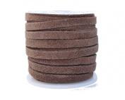 Genuine Flat Suede Leather Cord, 3.0 millimetre Brown, 10 Metre Spool