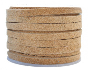 Genuine Flat Suede Leather Cord, 4.0 millimetre Natural, 10 Metre Spool