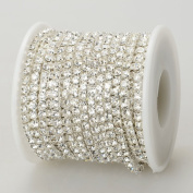 10 Yards Crystal Rhinestone Close Chain Clear Trim SS 2.6 mm in Silver Good Crafted DIY Ideas