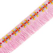 2.5cm Vintage Cotton Fringe by 1 yard, Pink, YD-351