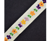 Floral Embroidered Ribbon Trim, 3.2cm by 1 Yard, Yellow/Purple ROI-7876