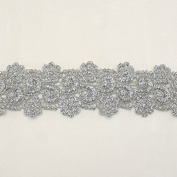 Silver Metallic Rayon Embroidery Lace Trim Flower Floral pattern applique lace - Bridal wedding Lace Trim wedding fabric Millinery accent motif scrapbooking crafts lace for baby headband hair accessories dress bridal accessories by Annielov trim #336