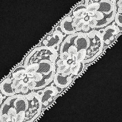 2 Yards Floral Raschel Stretch Lace Trim, 5.4cm , White TR-10892