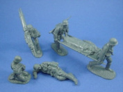 Plastic Toy Soldiers WWII German Infantry Medic Set CTS 1/32 Scale 6 Figures Grey Compatible with Marx Airfix Conte