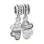 Sterling Silver Big/Little Sister Lil Sis Love Heart Clover Dangle Bead For Pandora European Charm Bracelets