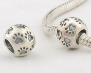 """General Gifts 925 Sterling Silver European Style Antique Silver """"Dog Paw Print"""" Charms/Beads For Pandora, Biagi, Chamilia, Troll And More Bracelets"""
