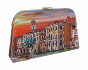 City At Sunset Rhinestone Metal Frame Clutch Purse w/Removable Strap