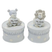 Tracey Russell Polka Dot Coll First Tooth & Curl Boxes Boy