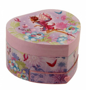 Musical Fairy Girl Jewellery Box Heart Shaped with Drawer